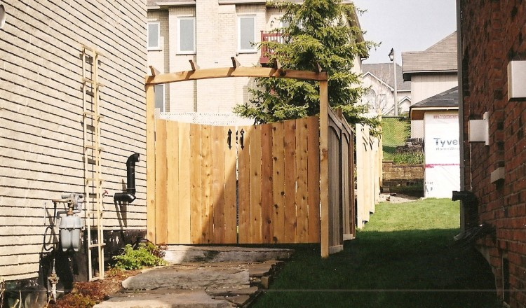 residential wood fence gate