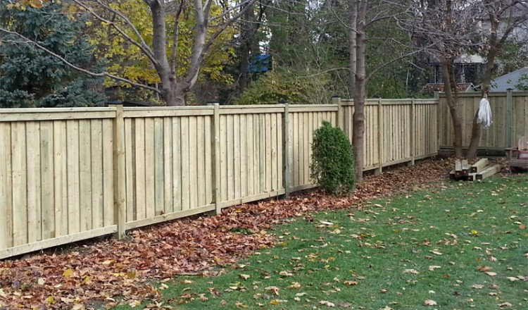 residential wood fencing in garden area